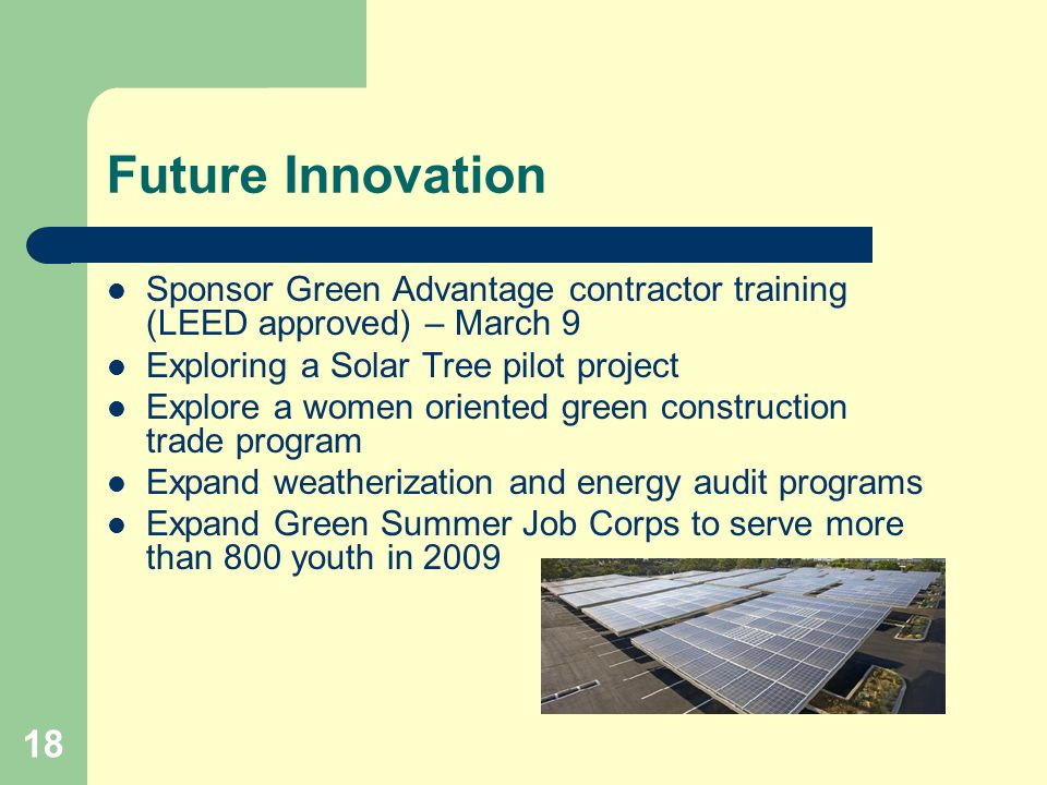18 Future Innovation Sponsor Green Advantage contractor training (LEED approved) – March 9 Exploring a Solar Tree pilot project Explore a women oriented green construction trade program Expand weatherization and energy audit programs Expand Green Summer Job Corps to serve more than 800 youth in 2009