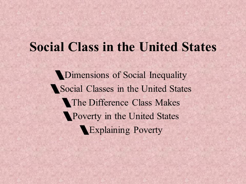 Social Class in the United States  Dimensions of Social Inequality  Social Classes in the United States  The Difference Class Makes  Poverty in the United States  Explaining Poverty