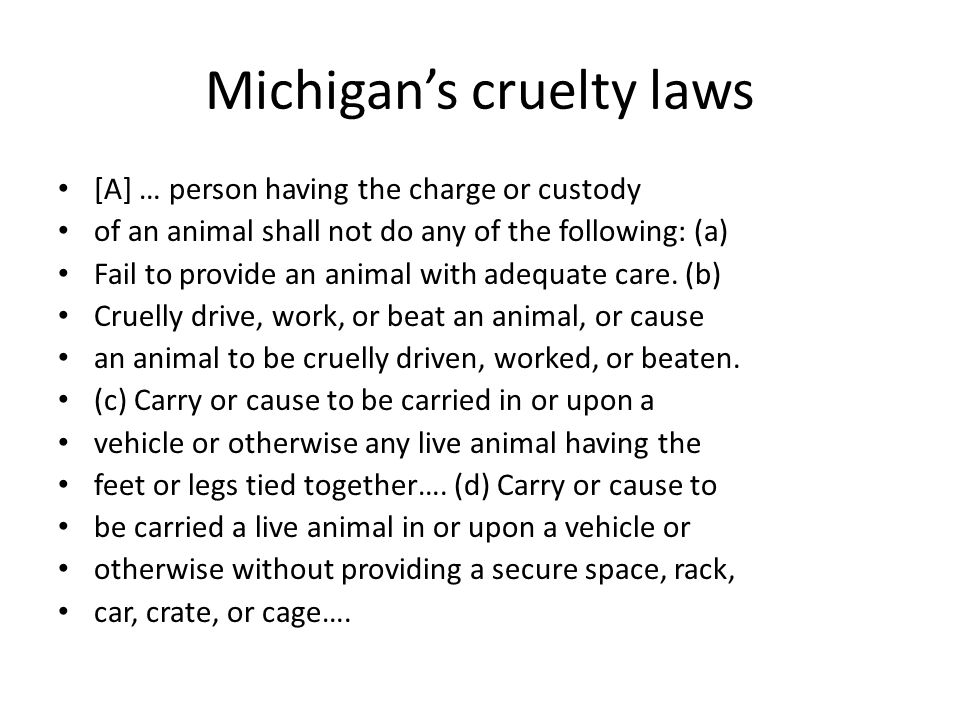 Michigan's cruelty laws [A] … person having the charge or custody of an animal shall not do any of the following: (a) Fail to provide an animal with adequate care.