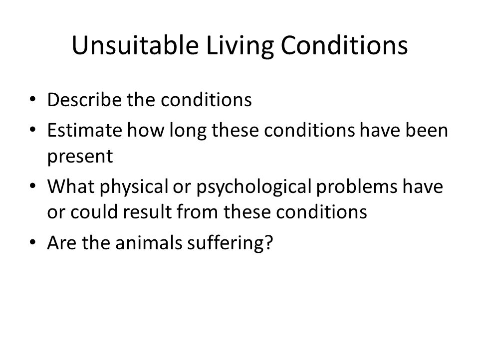 Unsuitable Living Conditions Describe the conditions Estimate how long these conditions have been present What physical or psychological problems have or could result from these conditions Are the animals suffering