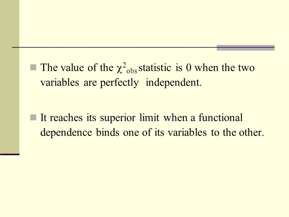The value of the  2 obs statistic is 0 when the two variables are perfectly independent.