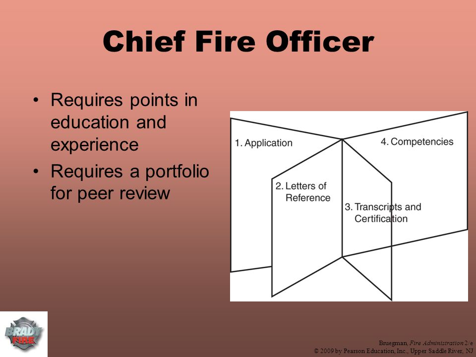 Bruegman, Fire Administration 2/e © 2009 by Pearson Education, Inc., Upper Saddle River, NJ Chief Fire Officer Requires points in education and experience Requires a portfolio for peer review