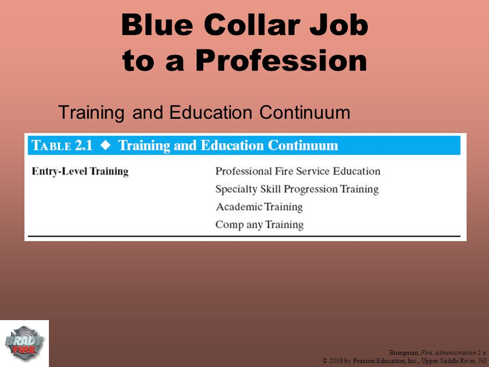 Bruegman, Fire Administration 2/e © 2009 by Pearson Education, Inc., Upper Saddle River, NJ Blue Collar Job to a Profession Training and Education Continuum