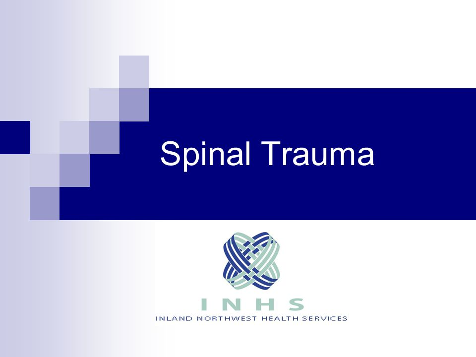 Spinal Column Injures  Movement of vertebrae from normal position  Subluxation or Dislocation  Fractures Spinous process and Transverse process Vertebral body Ruptured intervertebral disks  Common sites of injury C-1/C-2: Delicate vertebrae C-7: Transition from flexible cervical spine to thorax T-12/L-1: Different flexibility between thoracic and lumbar regions
