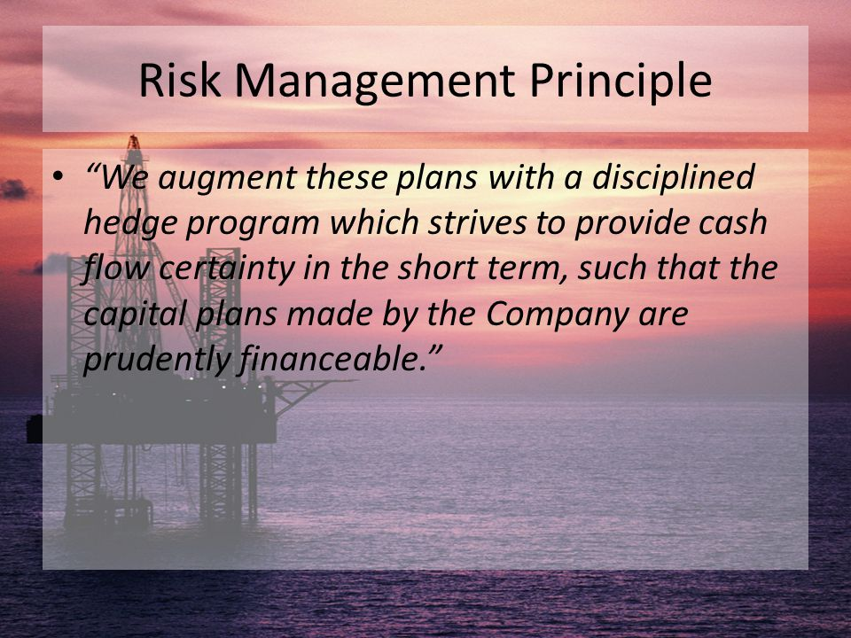 "Risk Management Principle ""We augment these plans with a disciplined hedge program which strives to provide cash flow certainty in the short term, suc"