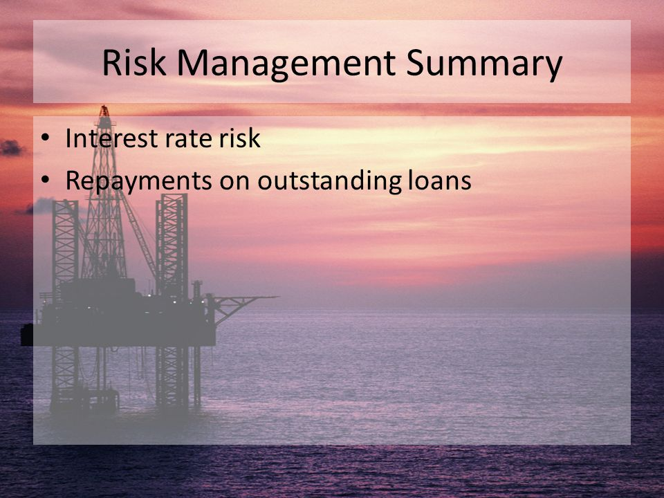 Risk Management Summary Interest rate risk Repayments on outstanding loans