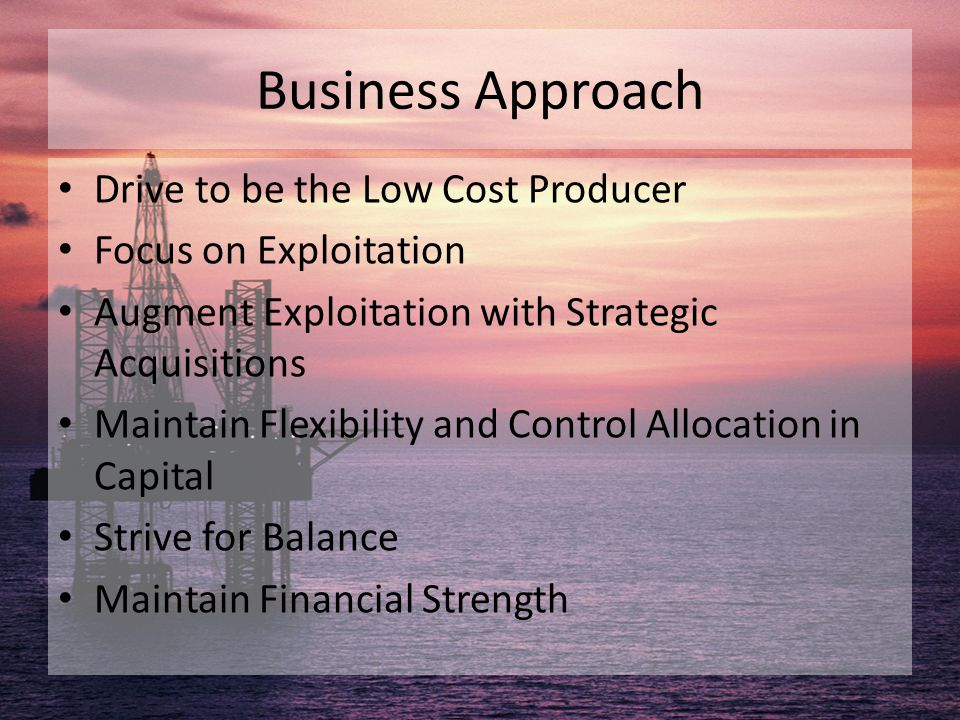 Business Approach Drive to be the Low Cost Producer Focus on Exploitation Augment Exploitation with Strategic Acquisitions Maintain Flexibility and Co