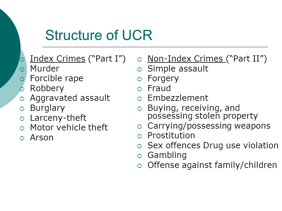 "Structure of UCR  Index Crimes (""Part I"")  Murder  Forcible rape  Robbery  Aggravated assault  Burglary  Larceny-theft  Motor vehicle theft "