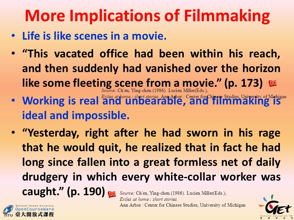 More Implications of Filmmaking Life is like scenes in a movie.