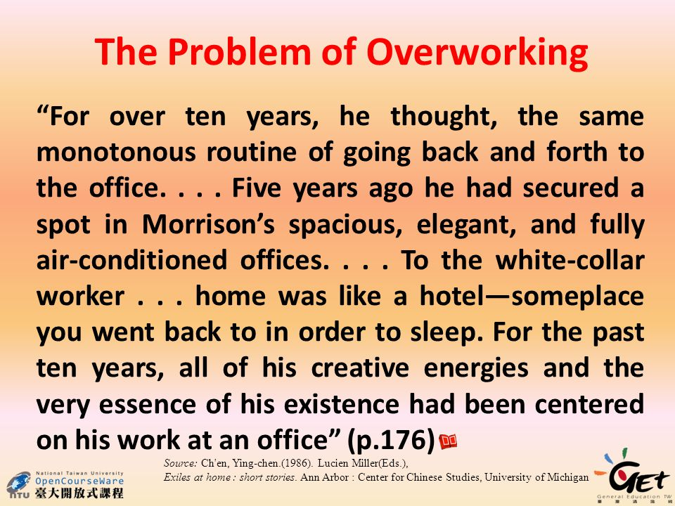 For over ten years, he thought, the same monotonous routine of going back and forth to the office....