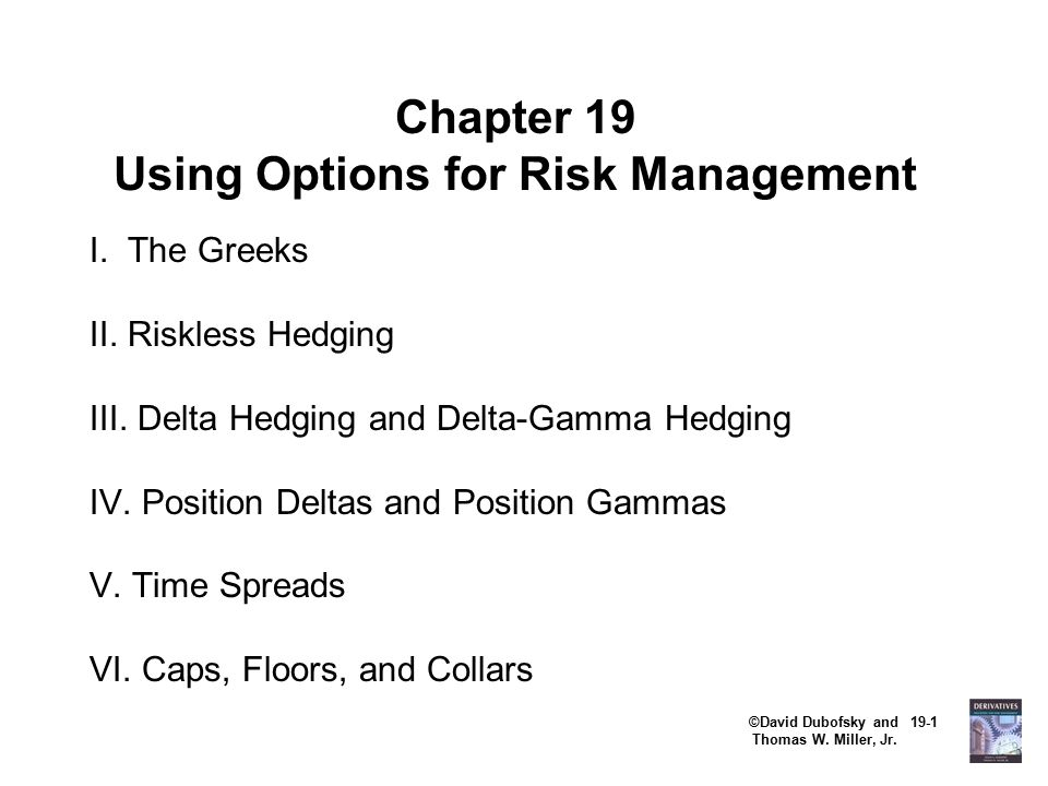 ©David Dubofsky and 19-1 Thomas W.Miller, Jr. Chapter 19 Using Options for Risk Management I.
