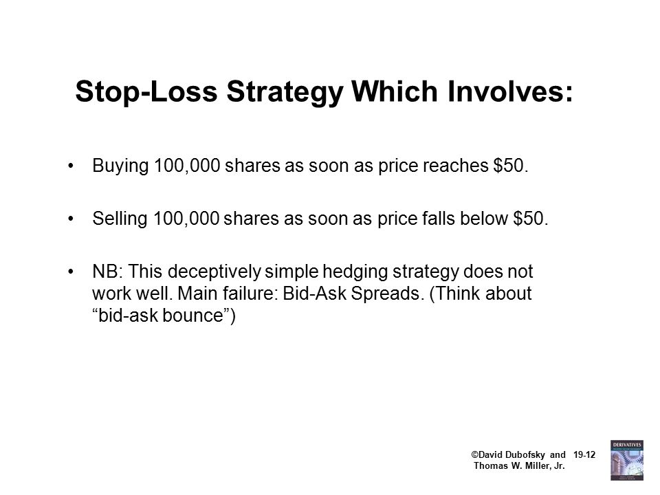 ©David Dubofsky and 19-12 Thomas W. Miller, Jr. Stop-Loss Strategy Which Involves: Buying 100,000 shares as soon as price reaches $50. Selling 100,000