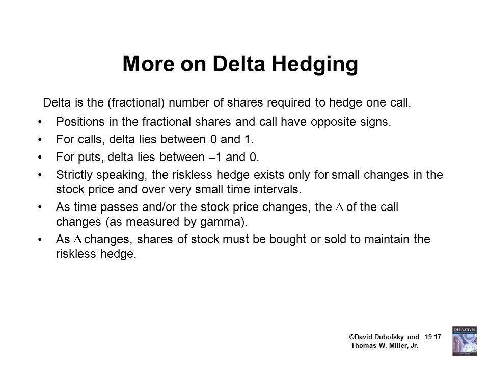 ©David Dubofsky and 19-17 Thomas W. Miller, Jr. More on Delta Hedging Delta is the (fractional) number of shares required to hedge one call. Positions