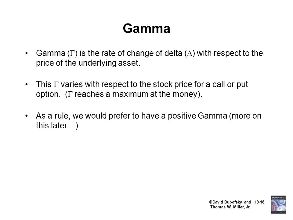 ©David Dubofsky and 19-18 Thomas W. Miller, Jr. Gamma Gamma (  ) is the rate of change of delta (  ) with respect to the price of the underlying ass