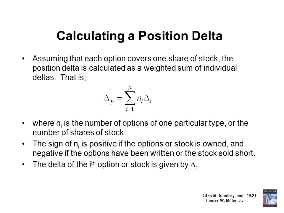 ©David Dubofsky and 19-21 Thomas W. Miller, Jr. Calculating a Position Delta Assuming that each option covers one share of stock, the position delta i