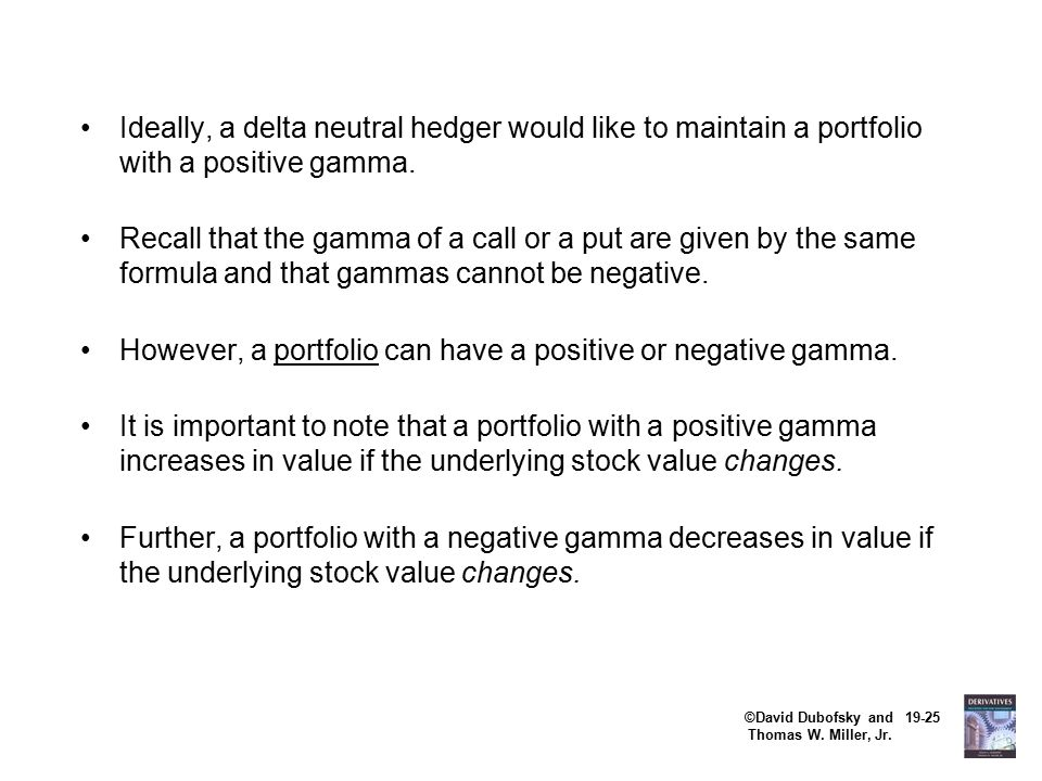 ©David Dubofsky and 19-25 Thomas W. Miller, Jr. Ideally, a delta neutral hedger would like to maintain a portfolio with a positive gamma. Recall that