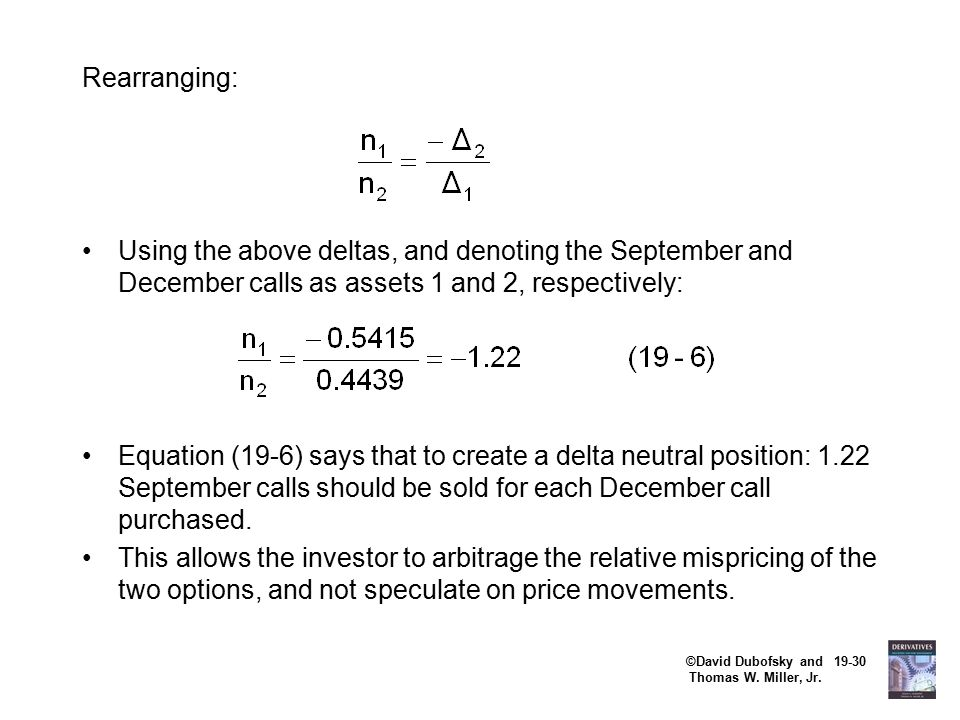 ©David Dubofsky and 19-30 Thomas W. Miller, Jr. Rearranging: Using the above deltas, and denoting the September and December calls as assets 1 and 2,