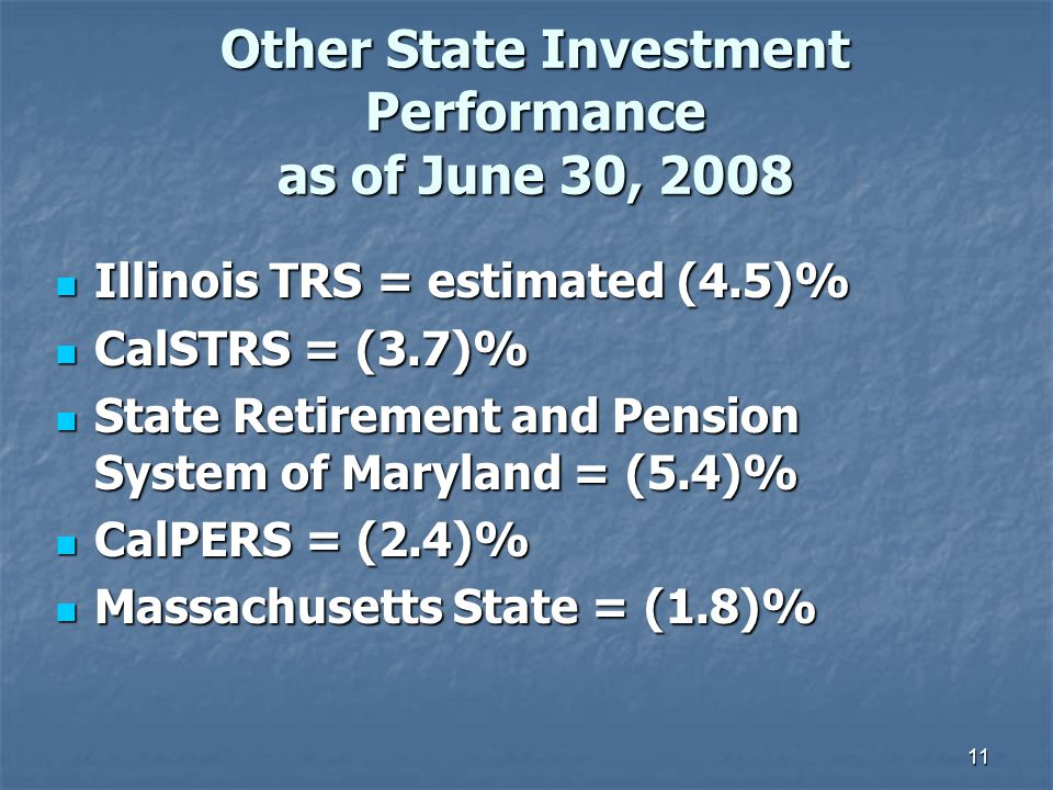 11 Other State Investment Performance as of June 30, 2008 Illinois TRS = estimated (4.5)% Illinois TRS = estimated (4.5)% CalSTRS = (3.7)% CalSTRS = (3.7)% State Retirement and Pension System of Maryland = (5.4)% State Retirement and Pension System of Maryland = (5.4)% CalPERS = (2.4)% CalPERS = (2.4)% Massachusetts State = (1.8)% Massachusetts State = (1.8)%