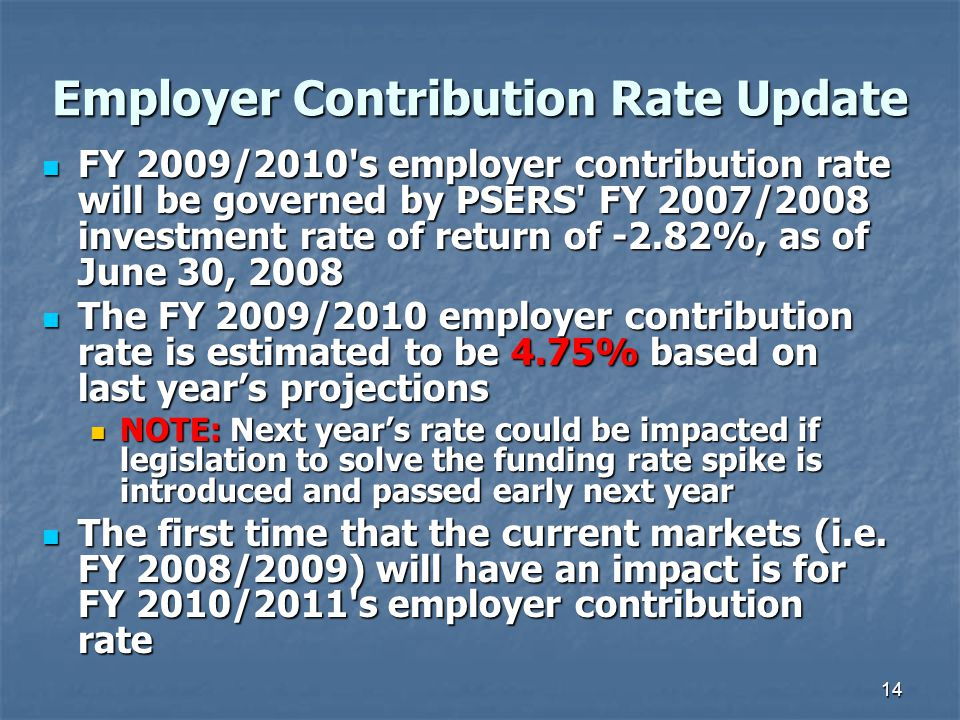 14 Employer Contribution Rate Update FY 2009/2010 s employer contribution rate will be governed by PSERS FY 2007/2008 investment rate of return of -2.82%, as of June 30, 2008 FY 2009/2010 s employer contribution rate will be governed by PSERS FY 2007/2008 investment rate of return of -2.82%, as of June 30, 2008 The FY 2009/2010 employer contribution rate is estimated to be 4.75% based on last year's projections The FY 2009/2010 employer contribution rate is estimated to be 4.75% based on last year's projections NOTE: Next year's rate could be impacted if legislation to solve the funding rate spike is introduced and passed early next year NOTE: Next year's rate could be impacted if legislation to solve the funding rate spike is introduced and passed early next year The first time that the current markets (i.e.
