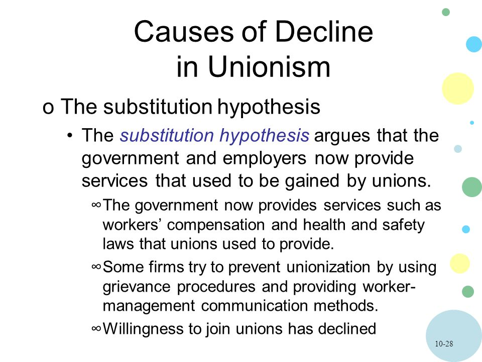 10-28 Causes of Decline in Unionism oThe substitution hypothesis The substitution hypothesis argues that the government and employers now provide services that used to be gained by unions.