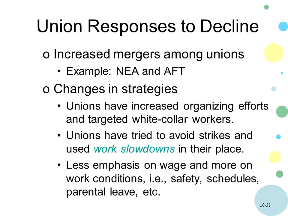 10-31 Union Responses to Decline oIncreased mergers among unions Example: NEA and AFT oChanges in strategies Unions have increased organizing efforts and targeted white-collar workers.