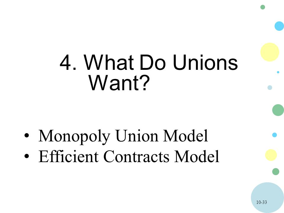 10-33 4. What Do Unions Want Monopoly Union Model Efficient Contracts Model