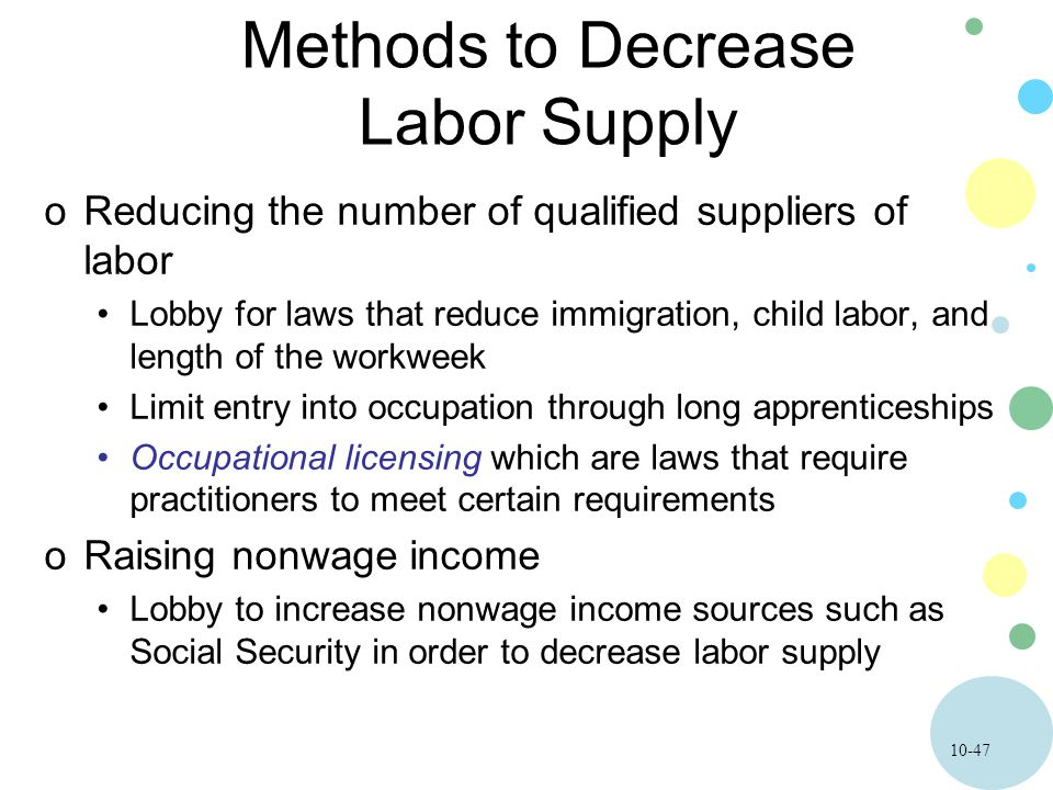 10-47 Methods to Decrease Labor Supply oReducing the number of qualified suppliers of labor Lobby for laws that reduce immigration, child labor, and length of the workweek Limit entry into occupation through long apprenticeships Occupational licensing which are laws that require practitioners to meet certain requirements oRaising nonwage income Lobby to increase nonwage income sources such as Social Security in order to decrease labor supply