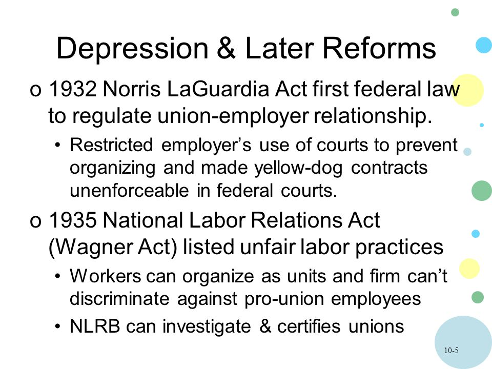 10-6 Depression & Later Reforms o1947 Taft –Hartley Act curbed union power.