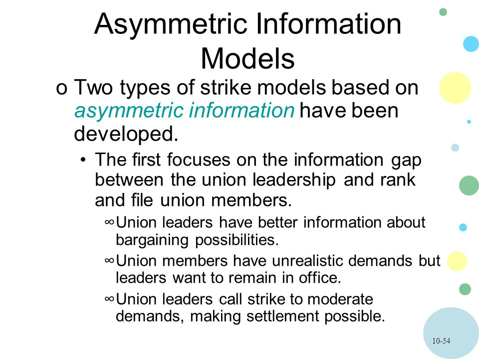 10-54 Asymmetric Information Models oTwo types of strike models based on asymmetric information have been developed. The first focuses on the informat