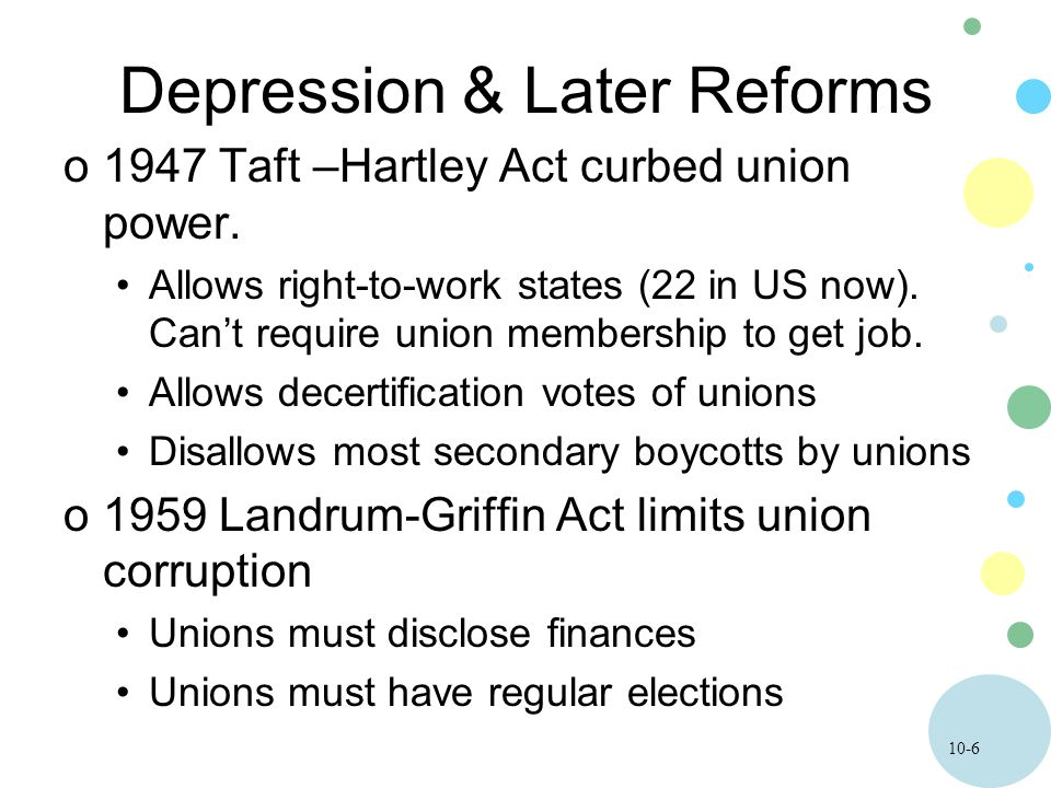 10-6 Depression & Later Reforms o1947 Taft –Hartley Act curbed union power. Allows right-to-work states (22 in US now). Can't require union membership