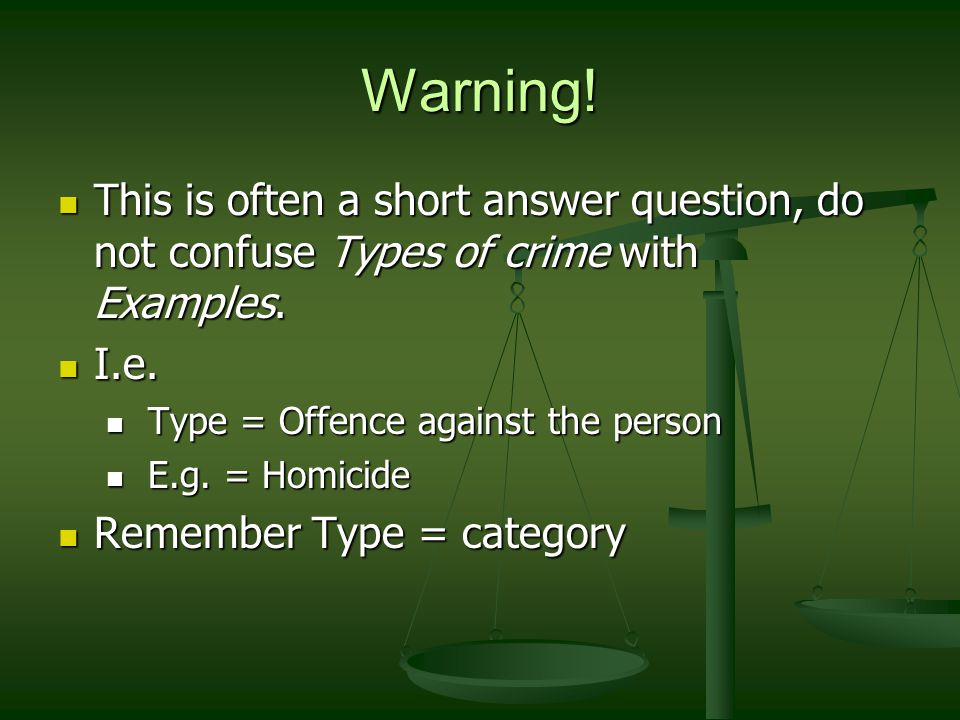 Types of Crime Crimes against persons Homicide Murder Mans-laughter Infant-icide Death by reckless driving Assault Sexual assault Aggrav-ated assault Economic Crimes Crimes against property Larceny/ theft Break and Enter Robbery White collar crimes Tax evasion Comp-uter crime Insider trading Crimes against the state SeditionTreason Public order offencesTraffic offences Regulatory Offences Prelim offences AttemptsCons-piracy Before the fact During the fact After the fact Victim-less crimes