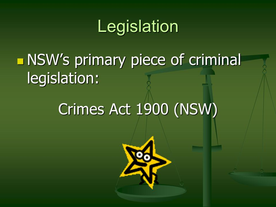 Legislation NSW's primary piece of criminal legislation: NSW's primary piece of criminal legislation: Crimes Act 1900 (NSW)