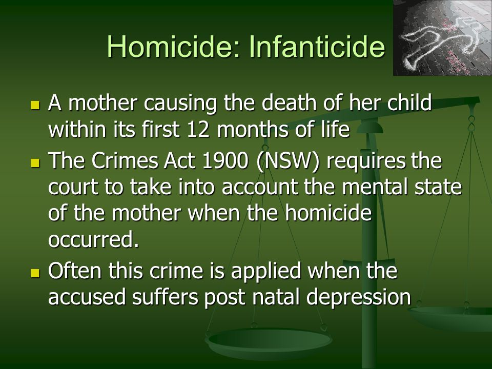 Homicide: Death by reckless driving Created in response to an increasing number of deaths resulting from motor vehicle accidents Created in response to an increasing number of deaths resulting from motor vehicle accidents The fact that the driver did not intend their actions to kill another person is not as important as other factors e.g.: The fact that the driver did not intend their actions to kill another person is not as important as other factors e.g.: Speed Speed Driving under the influence Driving under the influence Penalties of up to 14 years imprisonment can be given for drivers who cause death by reckless driving.