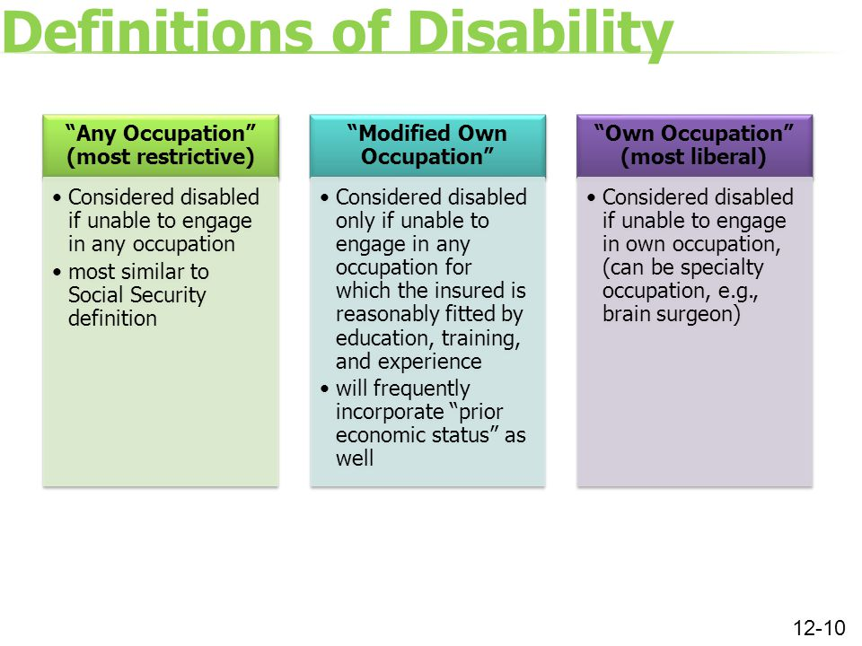 Definitions of Disability 12-10 Any Occupation (most restrictive) Considered disabled if unable to engage in any occupation most similar to Social Security definition Modified Own Occupation Considered disabled only if unable to engage in any occupation for which the insured is reasonably fitted by education, training, and experience will frequently incorporate prior economic status as well Own Occupation (most liberal) Considered disabled if unable to engage in own occupation, (can be specialty occupation, e.g., brain surgeon)