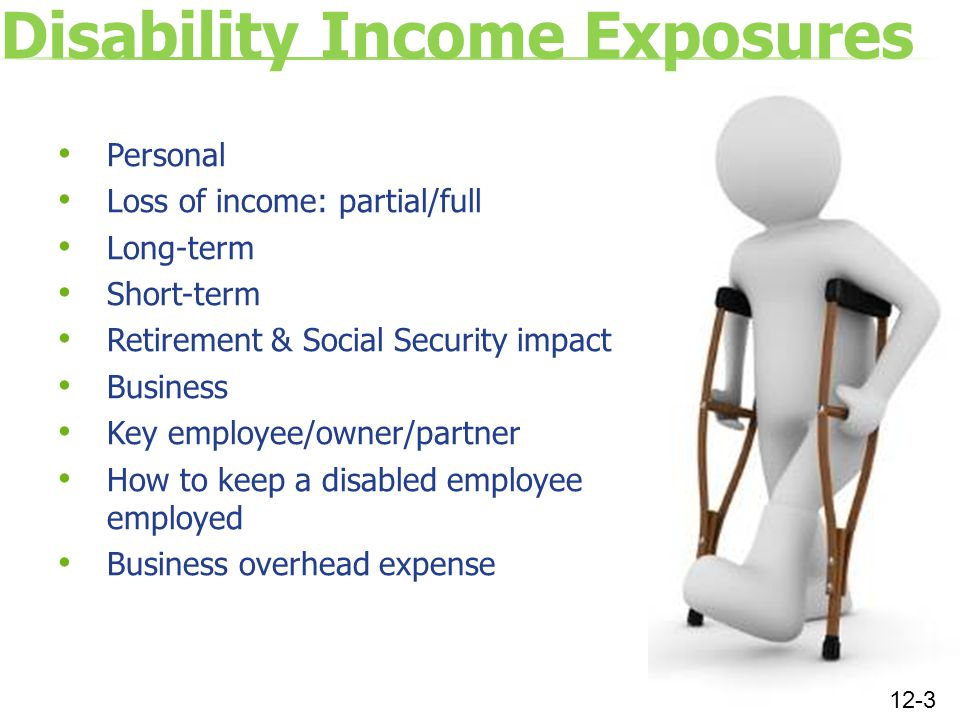 Disability Income Exposures Personal Loss of income: partial/full Long-term Short-term Retirement & Social Security impact Business Key employee/owner/partner How to keep a disabled employee employed Business overhead expense 12-3