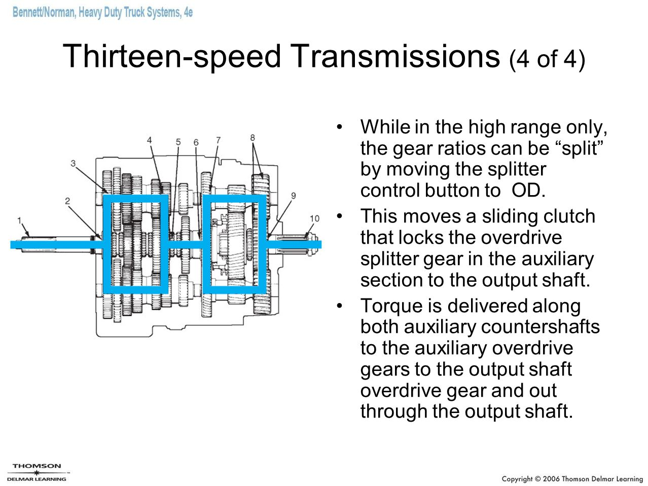 "Thirteen-speed Transmissions (4 of 4) While in the high range only, the gear ratios can be ""split"" by moving the splitter control button to OD. This m"