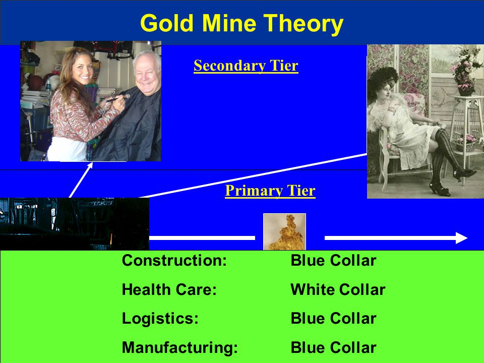Gold Mine Theory Primary Tier Secondary Tier Construction: Blue Collar Health Care: White Collar Logistics: Blue Collar Manufacturing: Blue Collar