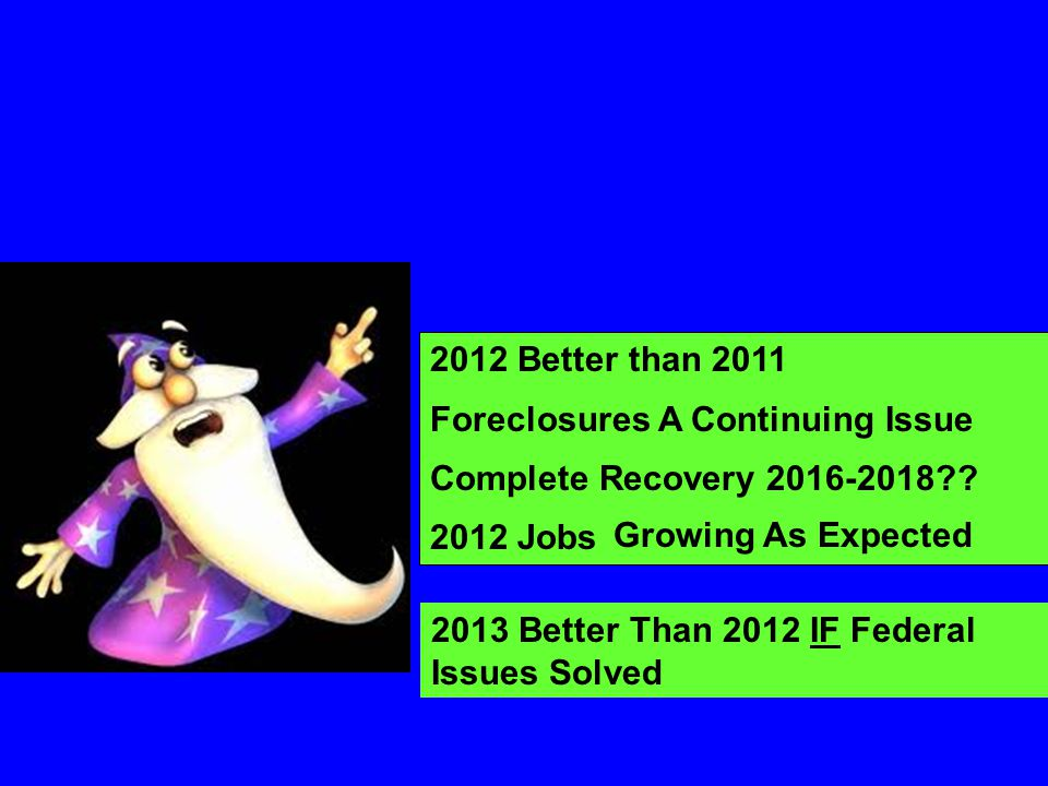 2012 Better than 2011 Foreclosures A Continuing Issue Complete Recovery 2016-2018?? 2012 Jobs Growing As Expected 2013 Better Than 2012 IF Federal Iss