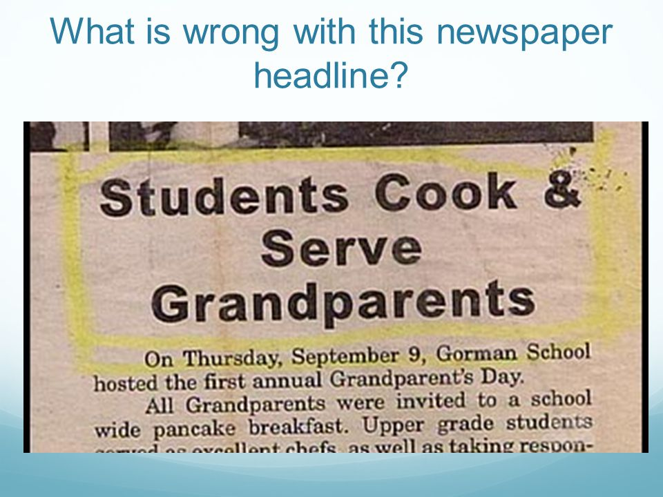 What is wrong with this newspaper headline?