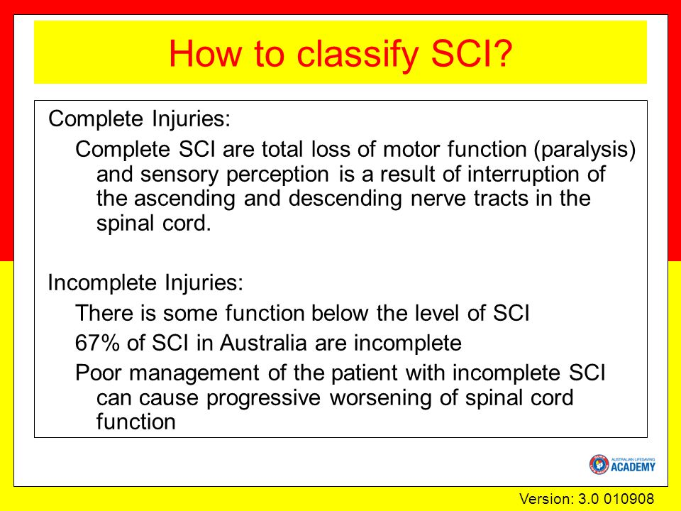 Version: 3.0 010908 How to classify SCI.