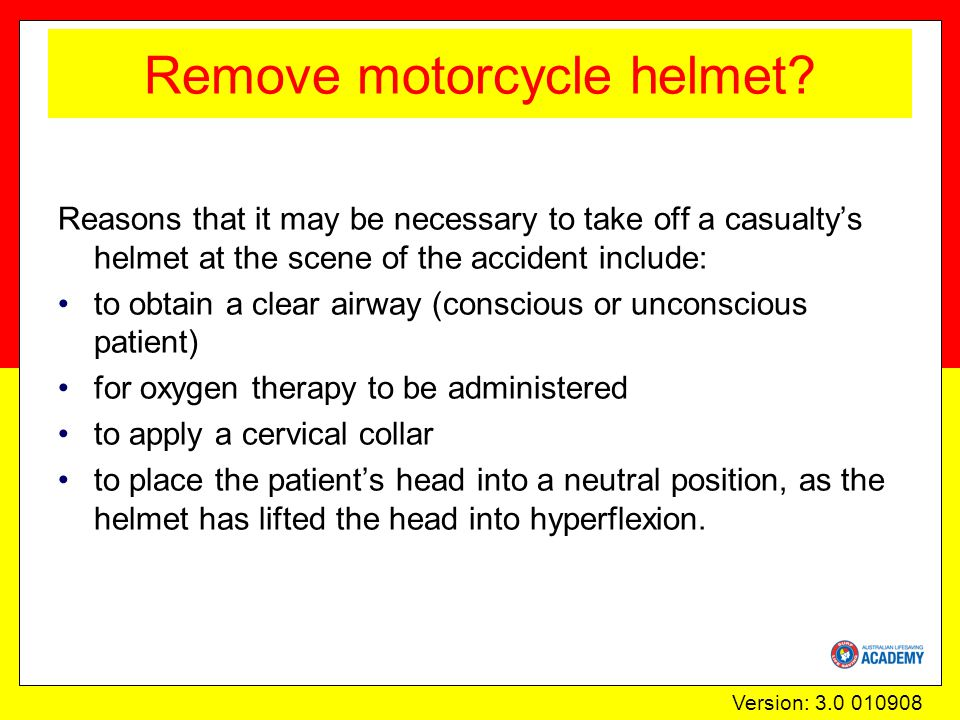 Version: 3.0 010908 Remove motorcycle helmet.