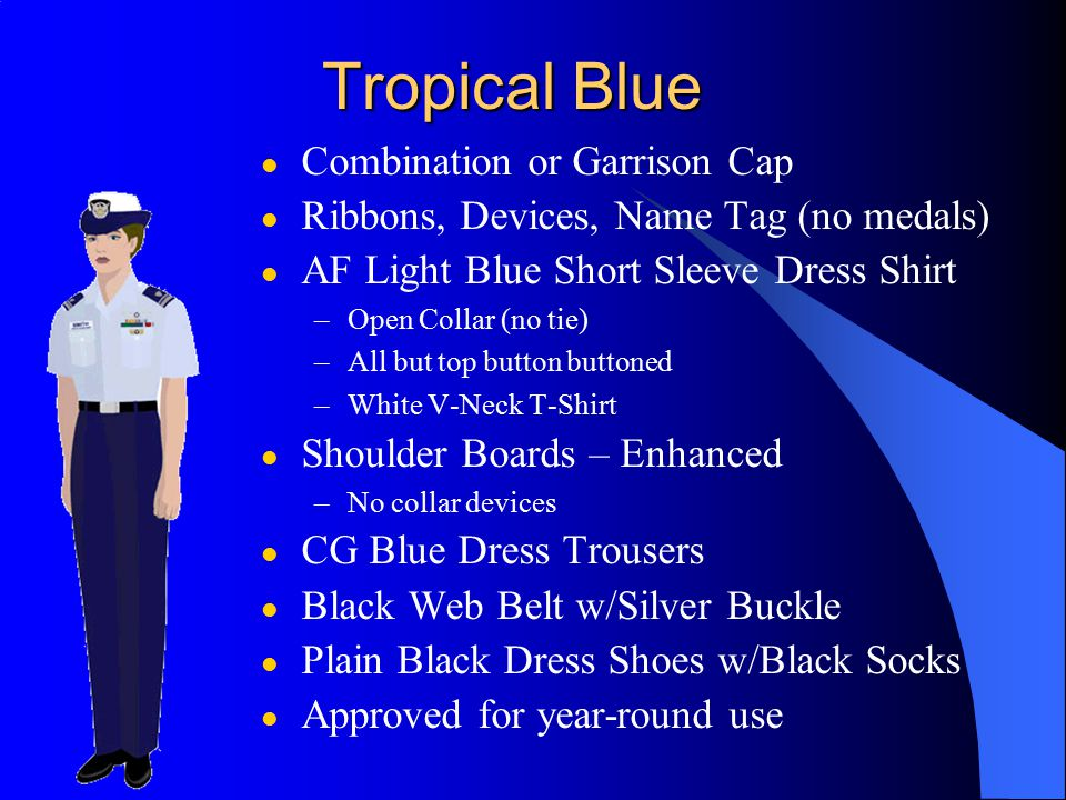 Additional Items - Tropical Blue (Cont.) Note: These items are not necessary for a complete uniform l Outerwear – Windbreaker, with or without liner: l Insignia: Large Metal, Placed ¾ inboard from epaulet seam.
