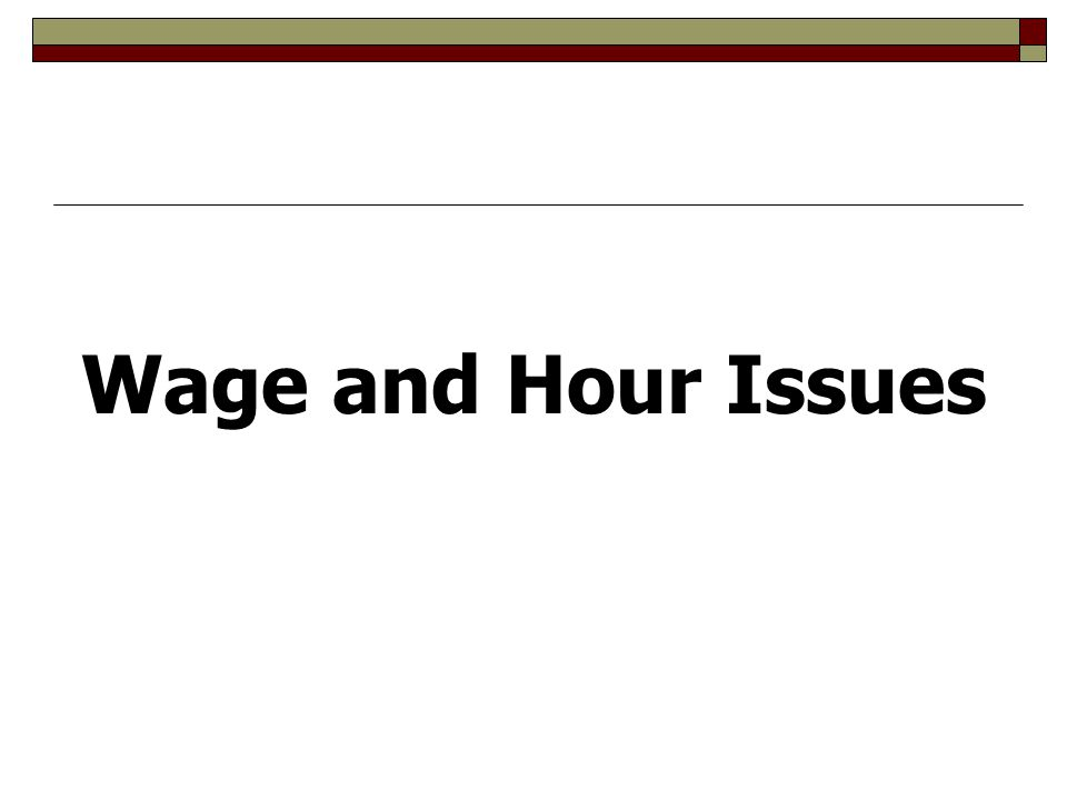 Wage and Hour Issues