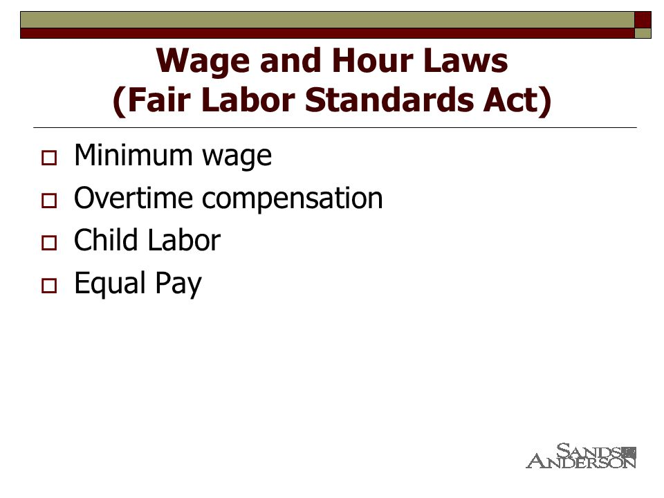 Wage and Hour Laws (Fair Labor Standards Act)  Minimum wage  Overtime compensation  Child Labor  Equal Pay