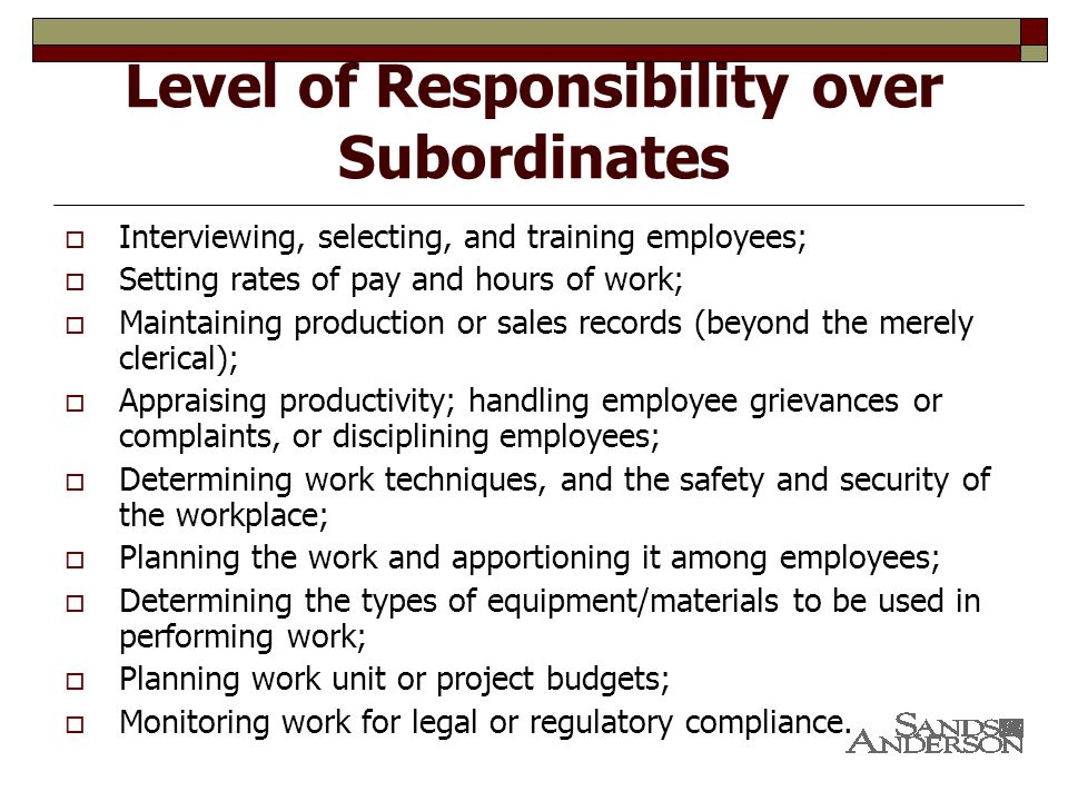 Level of Responsibility over Subordinates  Interviewing, selecting, and training employees;  Setting rates of pay and hours of work;  Maintaining production or sales records (beyond the merely clerical);  Appraising productivity; handling employee grievances or complaints, or disciplining employees;  Determining work techniques, and the safety and security of the workplace;  Planning the work and apportioning it among employees;  Determining the types of equipment/materials to be used in performing work;  Planning work unit or project budgets;  Monitoring work for legal or regulatory compliance.