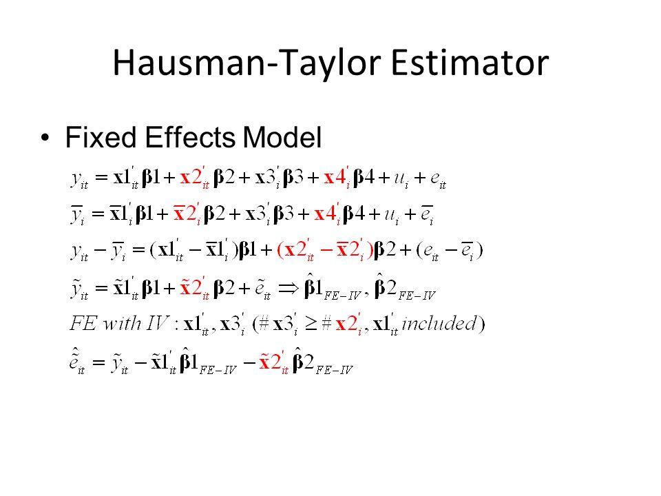 Hausman-Taylor Estimator Fixed Effects Model