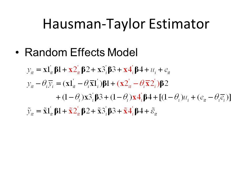 Hausman-Taylor Estimator Random Effects Model