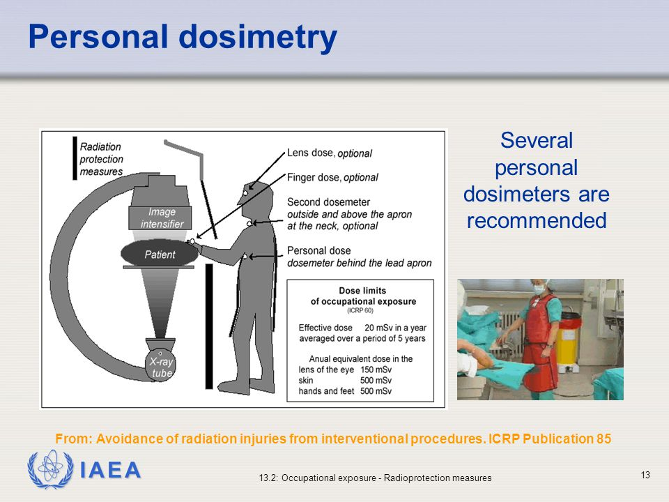 IAEA 13.2: Occupational exposure - Radioprotection measures 13 Personal dosimetry Several personal dosimeters are recommended From: Avoidance of radia