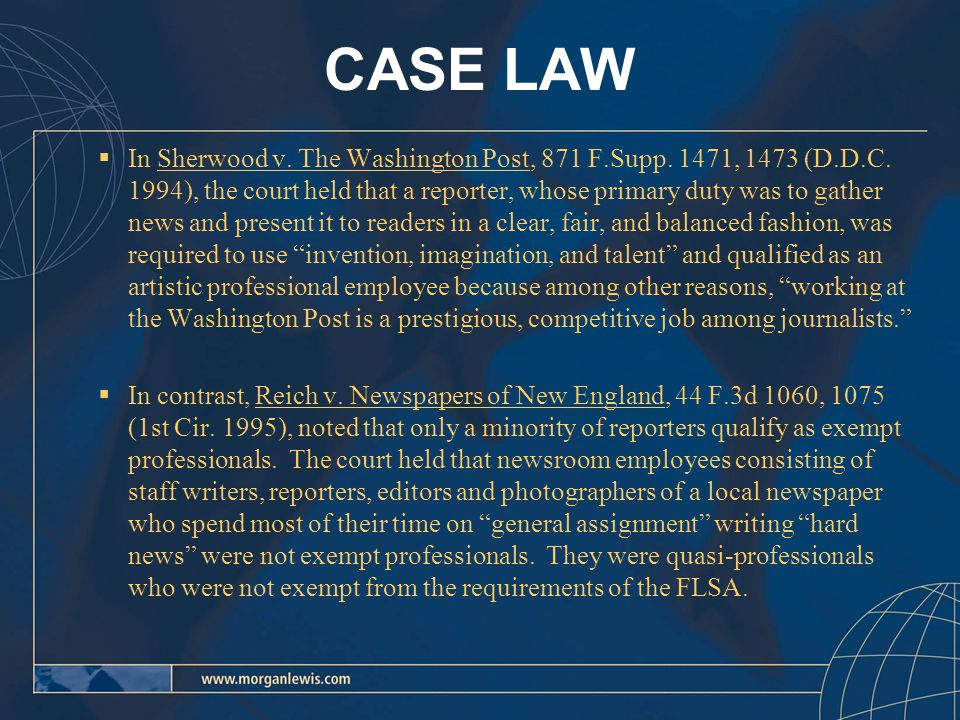 CASE LAW  In Sherwood v. The Washington Post, 871 F.Supp.