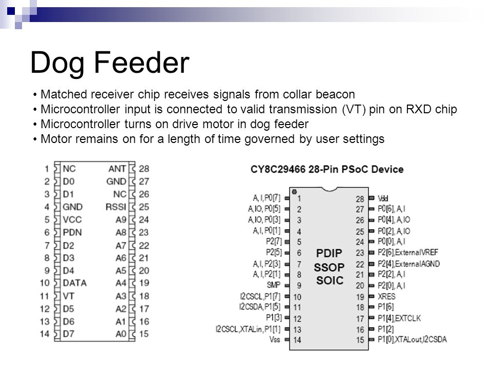 Dog Feeder Matched receiver chip receives signals from collar beacon Microcontroller input is connected to valid transmission (VT) pin on RXD chip Microcontroller turns on drive motor in dog feeder Motor remains on for a length of time governed by user settings